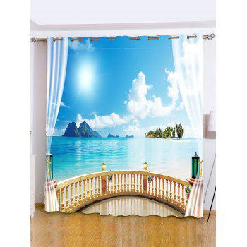 Shading Sea Landscape Window Curtain For Bedroom