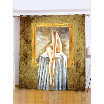 Roller Shutters Painting Window Background Shade Curtain - GOLD BROWN W59 INCH*L71 INCH