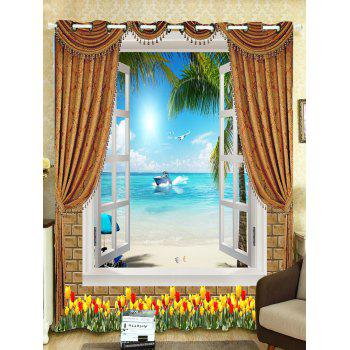 Sea View Printed Roller Wall Decoration Window Curtain - W65 INCH*L71 INCH W65 INCH*L71 INCH