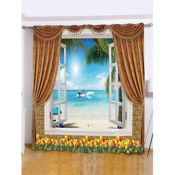 Sea View Printed Roller Wall Decoration Window Curtain - SKY BLUE W65 INCH*L71 INCH