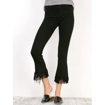 Fringe Cropped Frayed Flare Pants