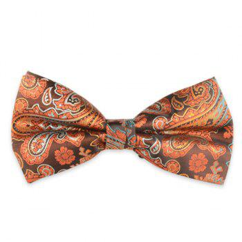 Floral Printed Jacquard Adjustable Bow Tie - ORANGE ORANGE