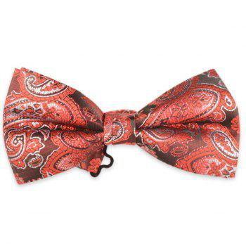 Floral Printed Jacquard Adjustable Bow Tie - RED RED