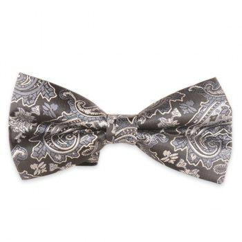 Floral Printed Jacquard Adjustable Bow Tie - LIGHT GRAY LIGHT GRAY