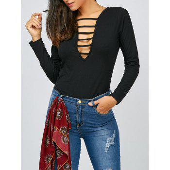 Cut Out V Neck Long Sleeve Tee