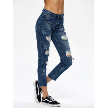 Cropped Broken Hole Jeans - BLUE M