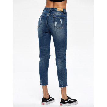 Cropped Broken Hole Jeans - M M