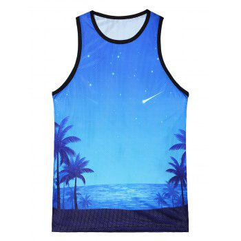 3D Sea Beach Galaxy Print Tank Top