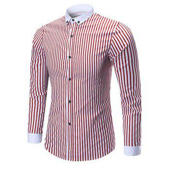 Button Down Vertical Stripe Shirt