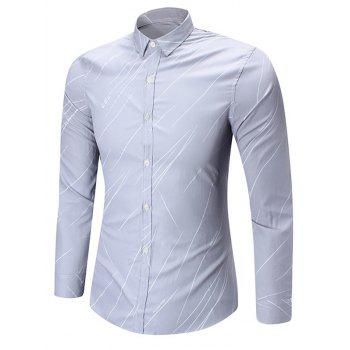 Line Printed Long Sleeve Shirt