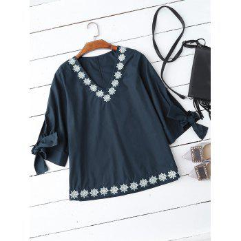Tie Sleeve Embroidered V Neck Blouse