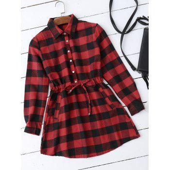Buttoned Drawstring Plaid Shirt