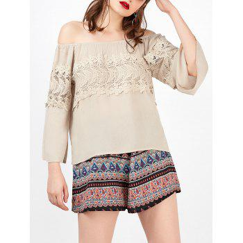 Lace Openwork Off The Shoulder Blouse