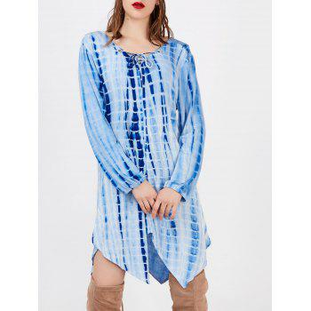 Lace Up Cut Out Printed Asymmetric Dress