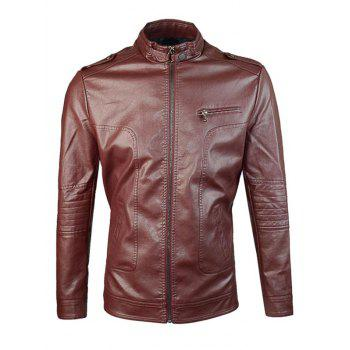 Zip Up Epaulet Design PU Jacket