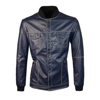 Zip Up PU Jacket with Chest Pocket