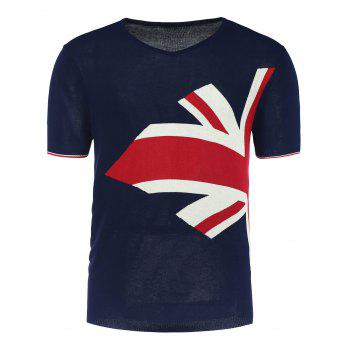 Graphic V Neck Short Sleeve Jumper