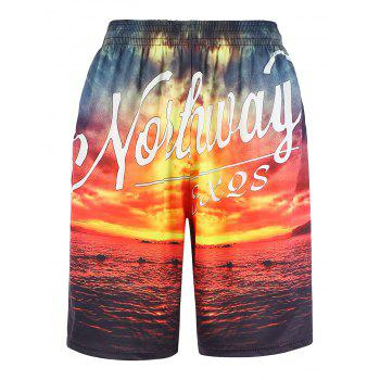 Hawaiian 3D Graphic Sunset Print Board Shorts