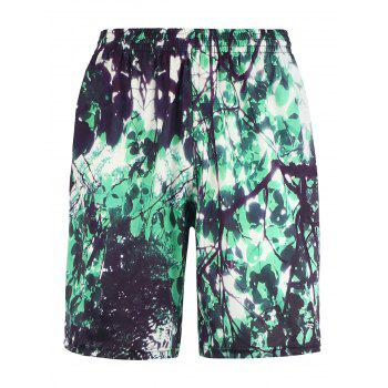 Straight Leg 3D Leaves Print Board Shorts