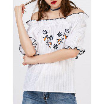 Floral Embroidery Off The Shoulder Blouse