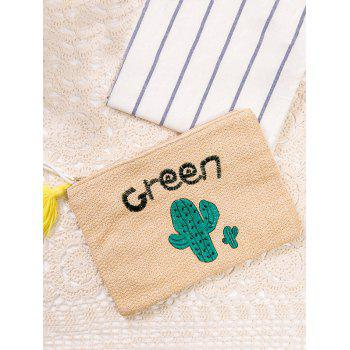 Straw Green Cactus Embroidered Clutch Bag