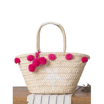 Pompon Star Print Straw Shoulder Bag