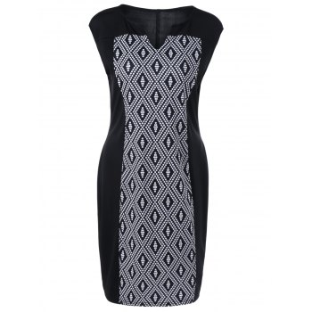 Plus Size Split-Neck Rhombus Dress - WHITE/BLACK WHITE/BLACK