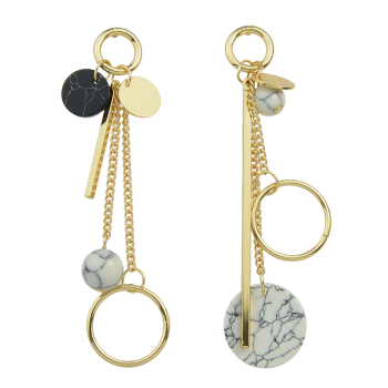 Asymmetric Circle Ball Disc Bar Earrings