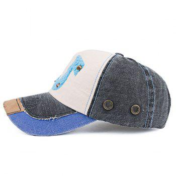 Patchwork Towelling Character Rivet Baseball Hat - BLACK