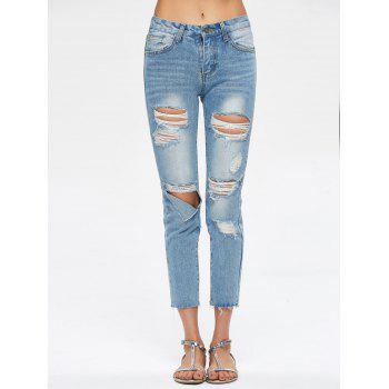 Cropped Destroyed Jeans - BLUE BLUE
