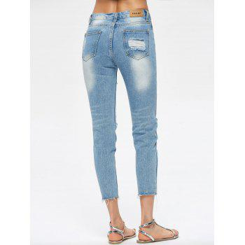 Cropped Destroyed Jeans - BLUE M