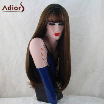 Adiors Long Silky Slightly Curled Neat Bang Synthetic Wig