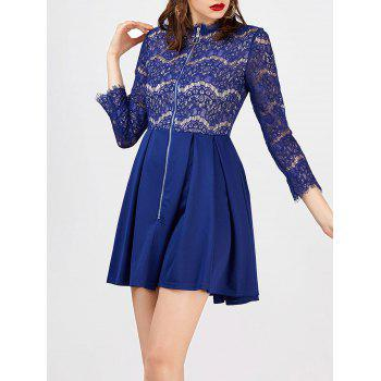 Lace Panel Front Zip A Line Dress