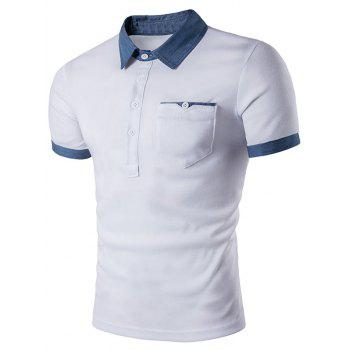 Pocket Denim Splicing Polo T-Shirt