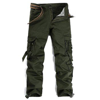 Pockets Embellished Metal Buckle Cargo Pants