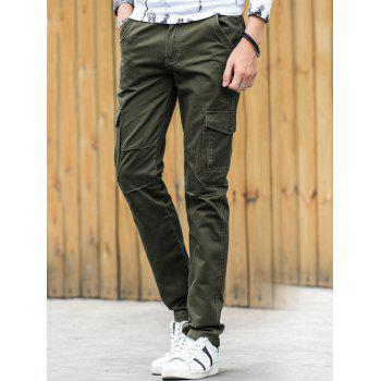 Pockets Design Zipper Fly Straight Leg Cargo Pants