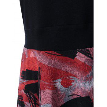 Plus Size Tie Dye Midi Casual Flower Dress - RED/BLACK XL
