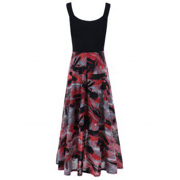Plus Size Tie Dye Midi Casual Flower Dress - RED/BLACK RED/BLACK