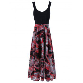 Plus Size Tie Dye Midi Casual Flower Dress - RED WITH BLACK RED/BLACK