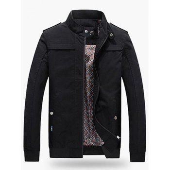 Stand Collar Ribbed Trim Jacket