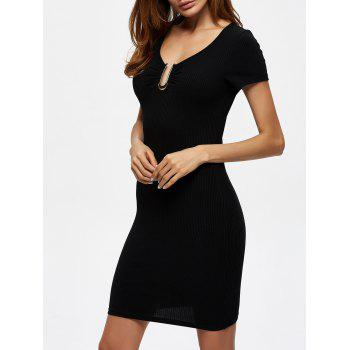 Ribbed Knit Ruched Bodycon Dress with Metal