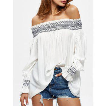 Shirred Embroidered Off The Shoulder Blouse