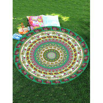 Thailand Elephant Print Mandala Round Chiffon Beach Throw