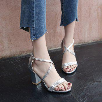 Block Heel Cross Strap Sandals - 39 39