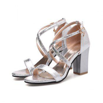 Block Heel Cross Strap Sandals - SILVER SILVER
