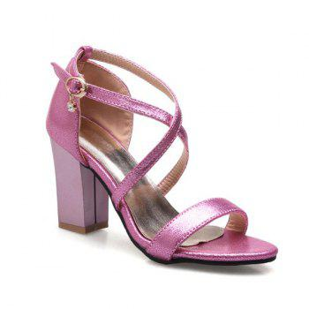 Block Heel Cross Strap Sandals - ROSE RED ROSE RED