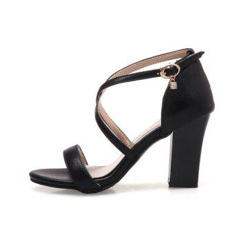 Block Heel Cross Strap Sandals - BLACK BLACK