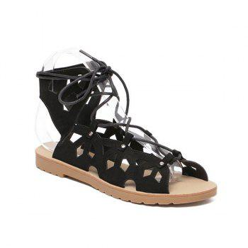 Hollow Out Studded Tie Up Sandals - BLACK 38