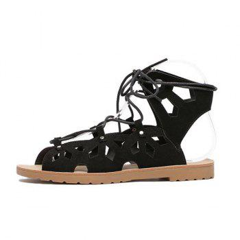 Hollow Out Studded Tie Up Sandals - BLACK BLACK