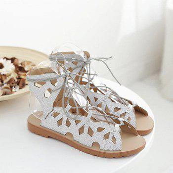 Hollow Out Studded Tie Up Sandals - 39 39